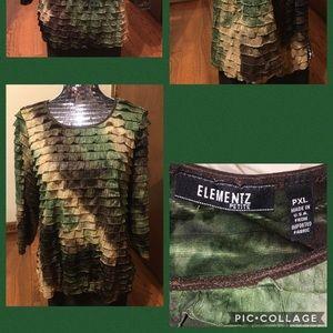 ELEMENTZ Petite Multi-Colored Shiny Top Size PXL